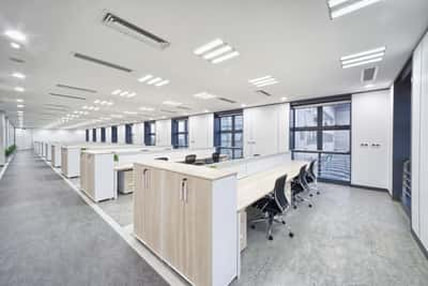 Modern office cubicles. very clean with no papers or garbage in view.